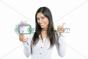 Beautiful success businesswoman holding Euro notes