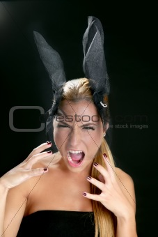 Blond fashion woman with scream shout