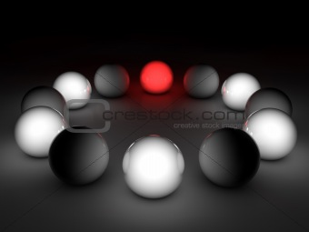 3D gloss spheres on black background