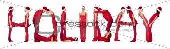 Group of red dressed people forming the word 'HOLIDAY'