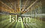Islam word cloud glowing