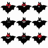 Set of nine cartoon bats