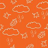 Seamless pattern with clouds and leaves on orange background