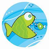 Big fish eating a little fish