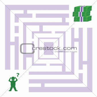 Abstract maze with man looking for money
