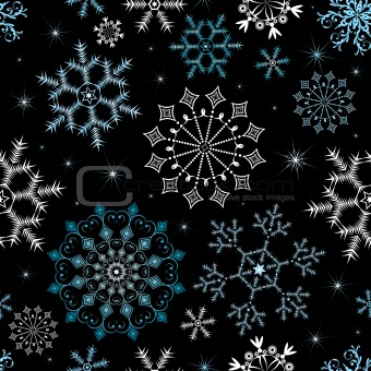 Seamless christmas black pattern (vector)