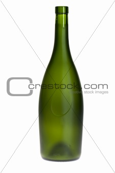 Green Empty wine bottle