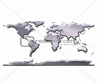 3D Silver World Map