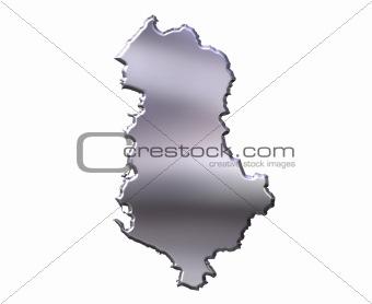 Albania 3D Silver Map