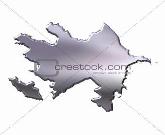 Azerbaijan 3D Silver Map