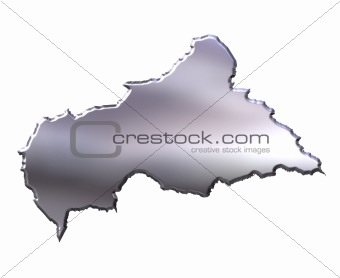 Central African Republic 3D Silver Map