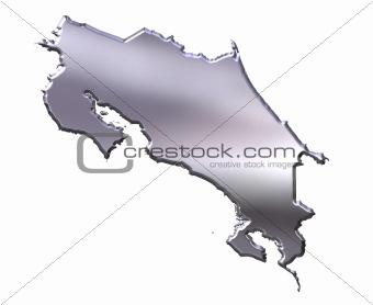 Costa Rica 3D Silver Map
