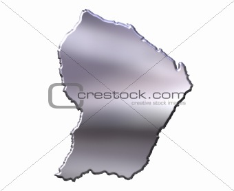 French Guiana 3D Silver Map