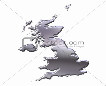 Great Britain 3D Silver Map