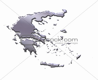 Greece 3D Silver Map
