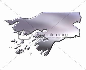 Guinea Bissau 3D Silver Map