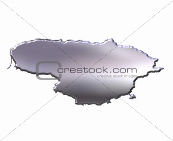 Lithuania 3D Silver Map
