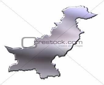 Pakistan 3D Silver Map