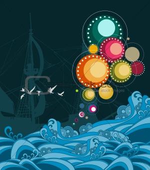 An abstract sea composition
