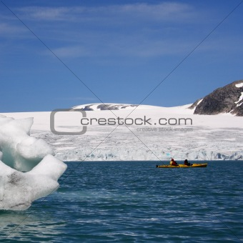 Kayak near glacier
