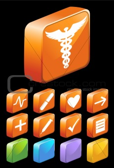 3D Square Glossy Medical Buttons