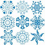 Collection dark blue snowflakes (vector)