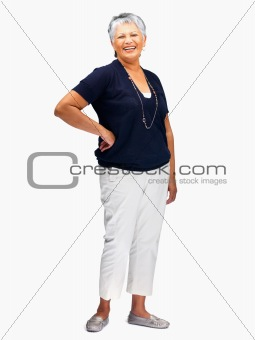 Happy elderly woman smiling on white background