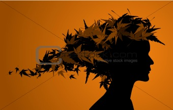Autumn floral girl silhouette