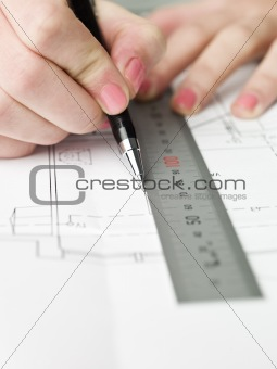 Architect working on a bluprint