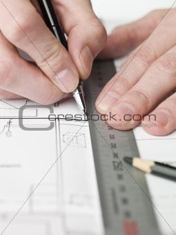 Architect working on a bluprint