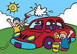 Kids washing car.