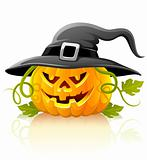 frightful halloween pumpkin vegetable in black hat