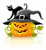 frightful halloween pumpkin in black hat with cat