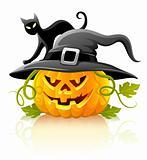 frightful halloween pumpkin in black hat with cat