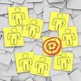 Targeted Customer in Bulls-Eye - Sticky Notes