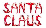 Group of elfs forming the phrase &#39;SANTA CLAUS&#39; 