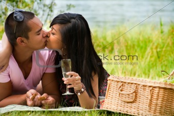 Kissing near the lake