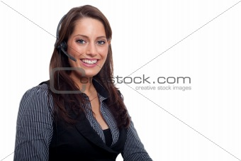 A young businesswoman with a headset