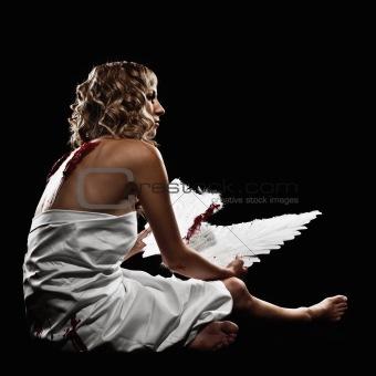 Female Model as Fallen Angel