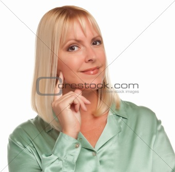 Attractive Blonde Woman Portrait Against a White Background.