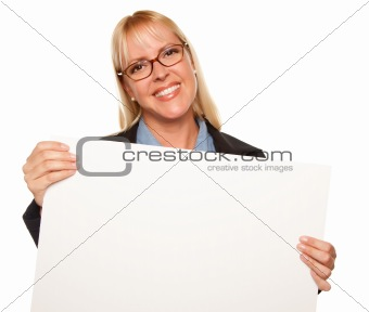 Attractive Blonde Holding Blank White Sign Isolated on a White Background.