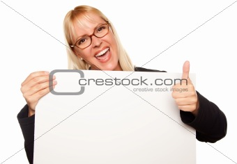 Attractive Blonde with Thumbs Up Holding Blank White Sign Isolated on a White Background.