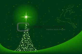 Green abstract Christmas tree and reindeer