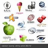 vector icons:shiny and 3d - set 4