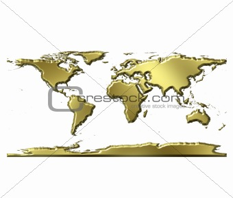 3D Golden World Map