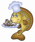 Carp chef with earthworms