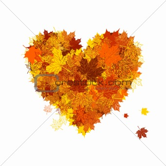 Autumn love, heart shape, leaf