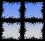 Grass silhouette frame