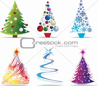 christmas tree modern illustrations
