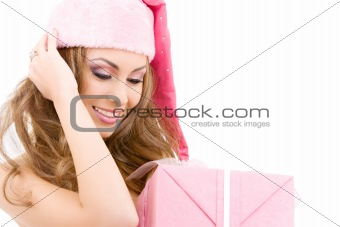 happy santa helper with gift box
